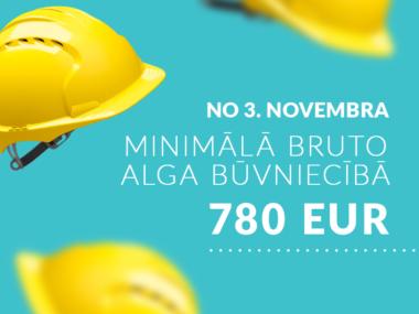 Image for No 3.novembra minimālā bruto alga būvniecībā – 780 EUR